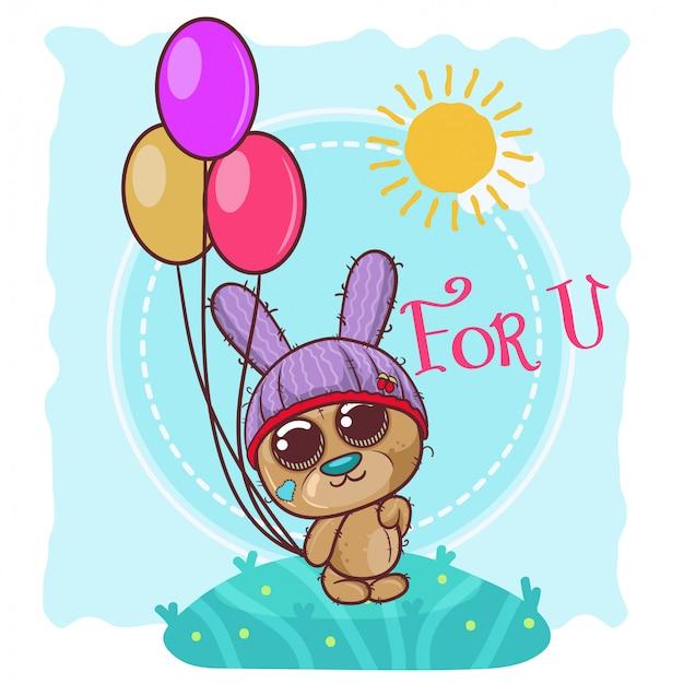 Kartka z pozdrowieniami śliczny kreskówka miś z balonami - wektor Premium Wektorów