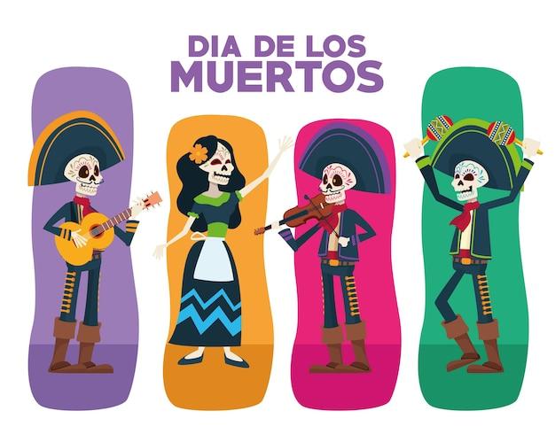 Kartka Z życzeniami Dia De Los Muertos Z Postaciami Z Grupy Szkieletów Premium Wektorów