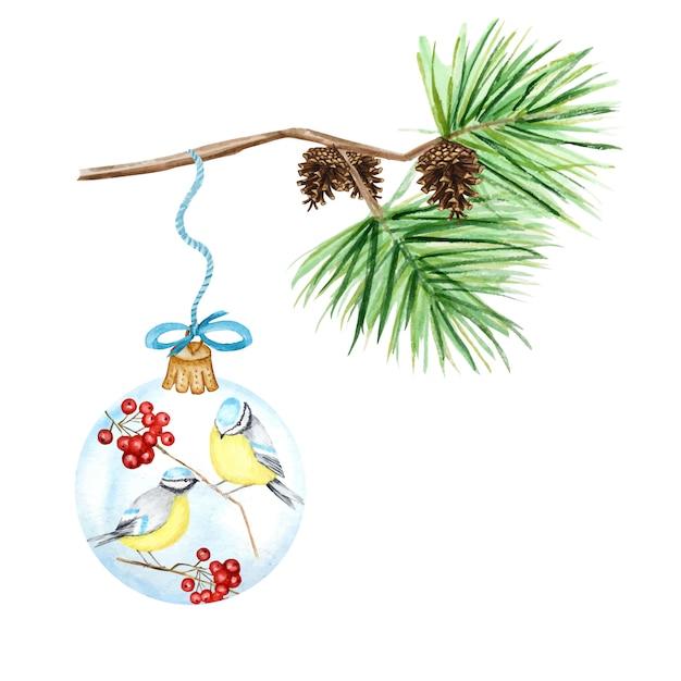 Kartka Z życzeniami, Koncepcja Plakatu Sosnowych Gałęzi I Szyszek, świąteczna Szklana Kula Z Czerwoną Jarzębiną, Zimowe Ptaki Modraszka, Akwarela Ręcznie Rysowane Ilustracja Premium Wektorów
