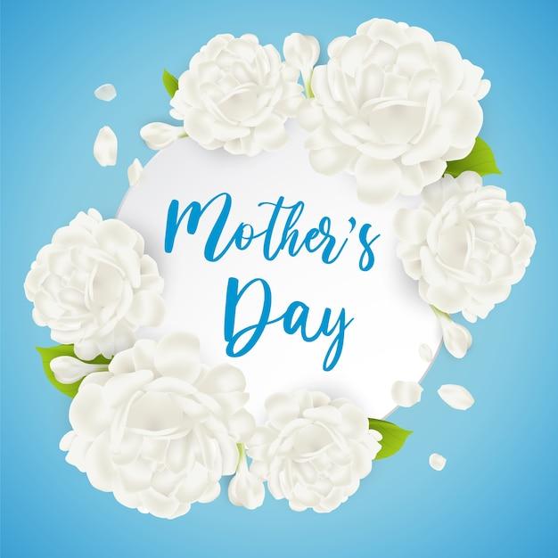 Kartka Z życzeniami Na Dzień Matki Z Pięknym Białym Kwiatem Jaśminu. Doskonała Realistyczna Ilustracja. Premium Wektorów