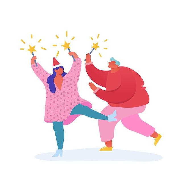 Kartka Z życzeniami świątecznymi I Szczęśliwego Nowego Roku Z Postaciami Tańczących Ludzi Z Rokiem 2020. Człowiek Z Fajerwerkami, Uroczystości, Imprezy, Ferie Zimowe. Na Pocztówkę, Plakat, Zaproszenie Premium Wektorów