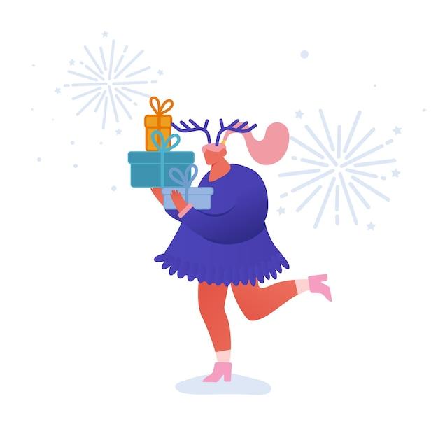 Kartka Z życzeniami świątecznymi I Szczęśliwego Nowego Roku Z Postaciami Tańczących Ludzi Z Rokiem 2020. Kobieta Z Dziewczynami, Uroczystość, Impreza, Ferie Zimowe. Na Pocztówkę, Plakat, Zaproszenie Premium Wektorów