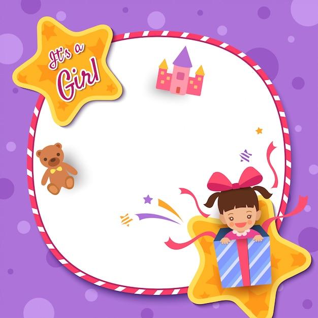 Kartkę z życzeniami baby shower z dziewczyną w obecne pudełko ozdobione ramą koła i gwiazda na fioletowym tle Premium Wektorów