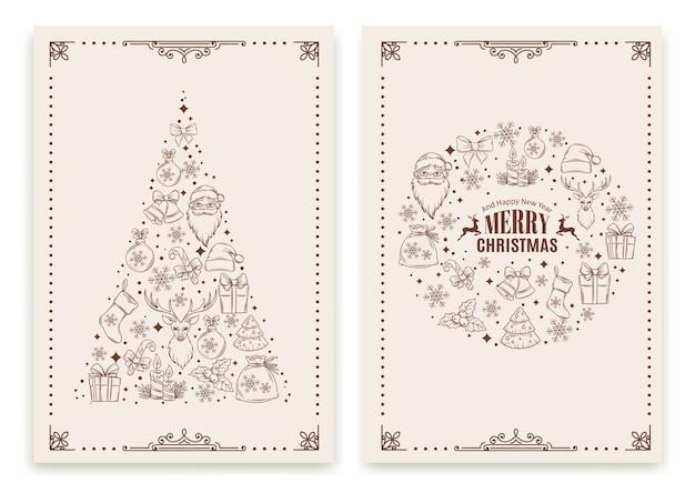 Kartkę Z życzeniami Bożego Narodzenia I Nowego Roku Premium Wektorów