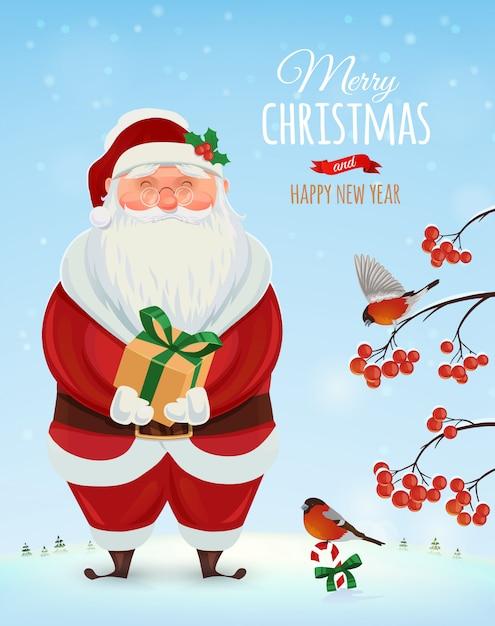 Kartkę Z życzeniami Christmas, Plakat. śmieszny święty Mikołaj Na Zimowy Krajobraz I Krzak Z Jagodami. . Wesołych świąt I Szczęśliwego Nowego Roku Premium Wektorów