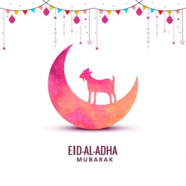 Kartkę z życzeniami eid al-adha na wakacje muzułmańskie Premium Wektorów