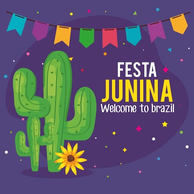 Kartkę Z życzeniami Festa Junina Z Wiszące Kaktus I Girlanda Premium Wektorów