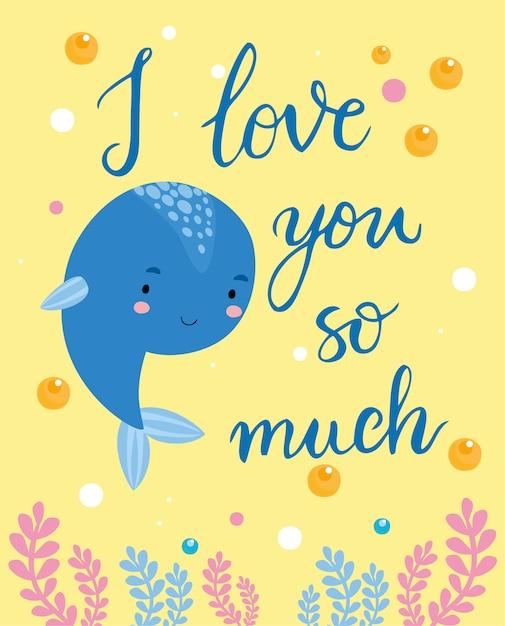 Kartkę z życzeniami, kocham cię bardzo wieloryb Darmowych Wektorów