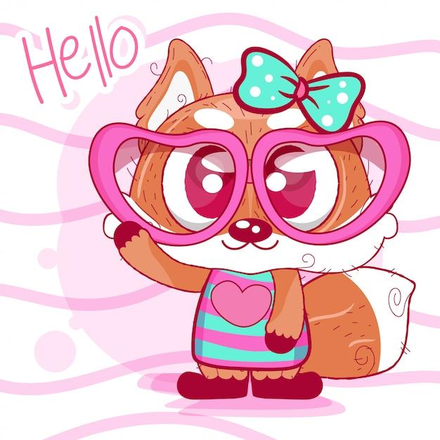 Kartkę z życzeniami lisa cute cartoon Premium Wektorów