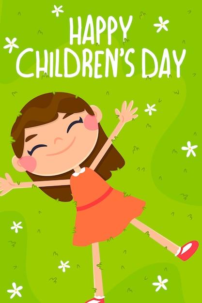 Kartkę z życzeniami na dzień dziecka, postać dziewczyny Premium Wektorów