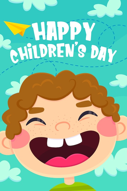 Kartkę z życzeniami na dzień dziecka, postać smile boy Premium Wektorów