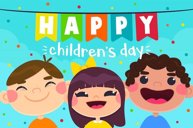 Kartkę z życzeniami na dzień dziecka, postacie dla dzieci Premium Wektorów