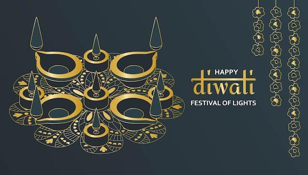 Kartkę Z życzeniami Na Obchody Festiwalu Diwali W Indiach. Premium Wektorów