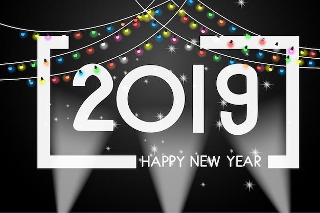 Kartkę z życzeniami nowy rok 2019 okładka szablon projektu. Premium Wektorów