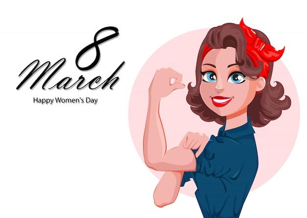 Kartkę Z życzeniami Szczęśliwego Dnia Kobiet Premium Wektorów