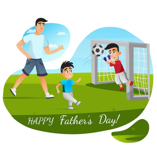 Kartkę Z życzeniami Szczęśliwego Dnia Ojca. Cartoon Family Grać W Piłkę Nożną Premium Wektorów