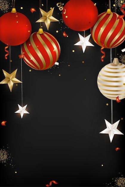 Kartkę Z życzeniami Szczęśliwego Nowego Roku 2020. Bombki, Płatki śniegu, Serpentyn, Konfetti, Gwiazdy 3d Na Czarnym Tle. . Premium Wektorów