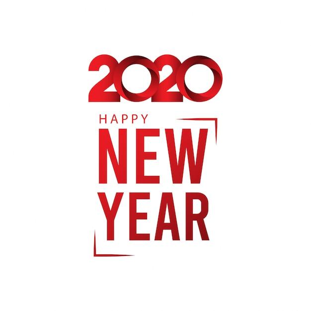 Kartkę Z życzeniami Szczęśliwego Nowego Roku 2020 Na Czerwony Kolor Gradientu Premium Wektorów