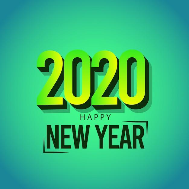 Kartkę Z życzeniami Szczęśliwego Nowego Roku 2020 Na Kolor Zielony Premium Wektorów