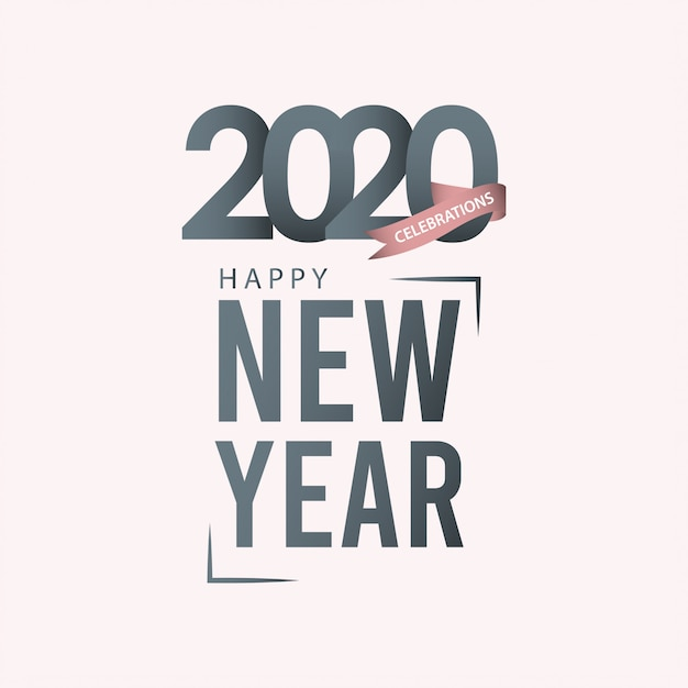 Kartkę Z życzeniami Szczęśliwego Nowego Roku 2020 W Skali Szarości Premium Wektorów