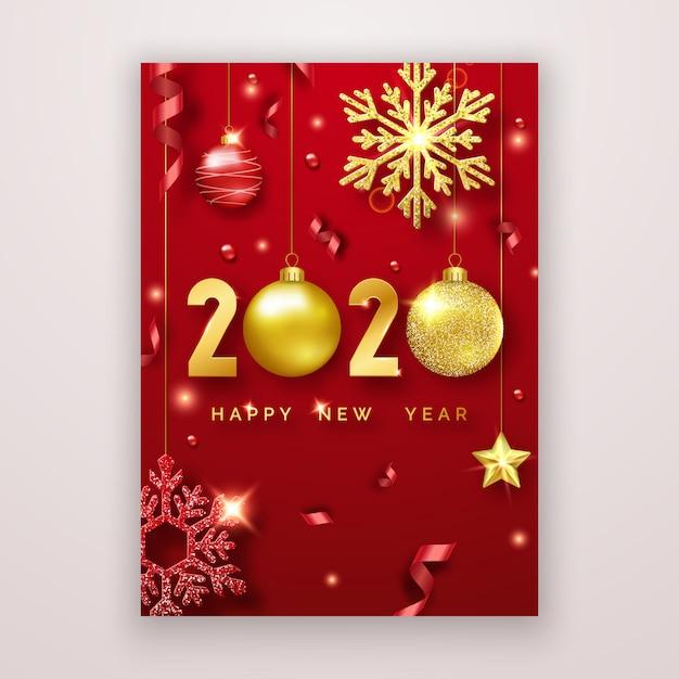 Kartkę z życzeniami szczęśliwego nowego roku 2020 z błyszczącymi cyframi, gwiazdkami, kulkami i wstążkami. Premium Wektorów