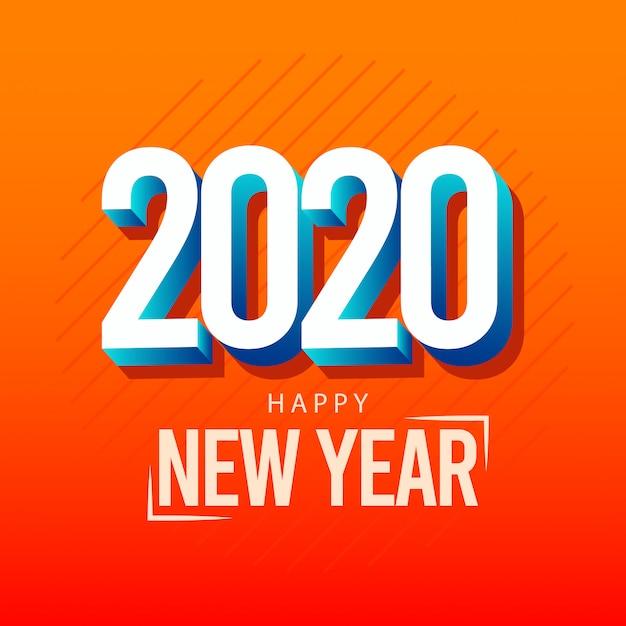 Kartkę Z życzeniami Szczęśliwego Nowego Roku 2020 Z Efektem 3d Premium Wektorów