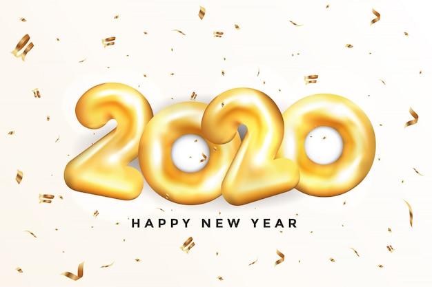 Kartkę Z życzeniami Szczęśliwego Nowego Roku 2020 - Złote Balony Premium Wektorów