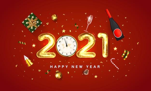 Kartkę Z życzeniami Szczęśliwego Nowego Roku 2021. Projekt Wakacje Złote Metalowe Numery 2021 Na Czerwonym Tle. świąteczny Projekt Udekoruj Pudełkiem Prezentowym, Złotymi Kulkami, Stożkiem, Złotą Butelką Wina I Gwiazdą Premium Wektorów