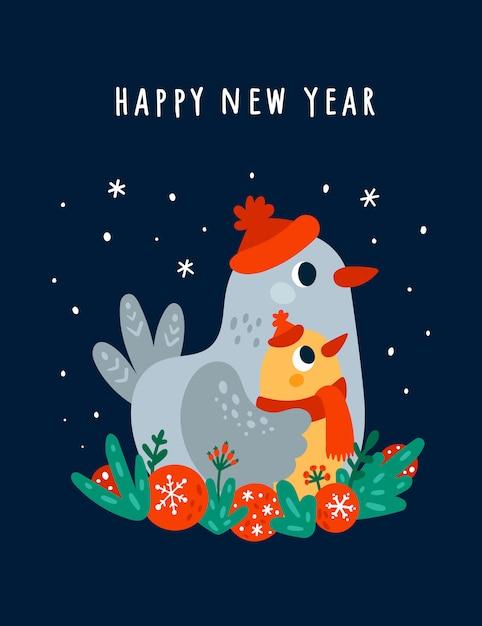 Kartkę Z życzeniami Szczęśliwego Nowego Roku Z Cute Ptaków Premium Wektorów