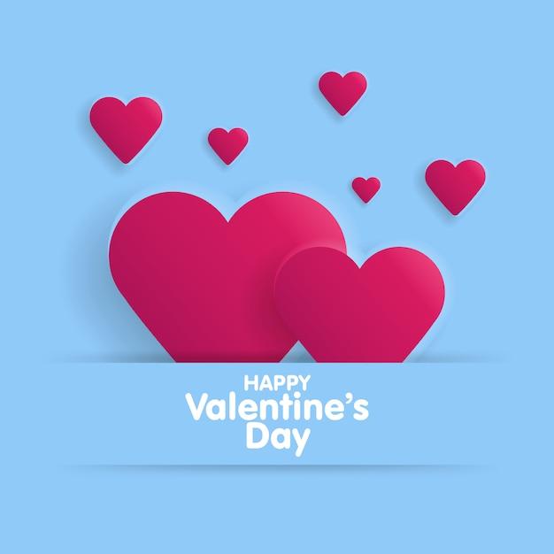 Kartkę Z życzeniami Szczęśliwych Walentynek. Napis Z Serca Na Tle Premium Wektorów