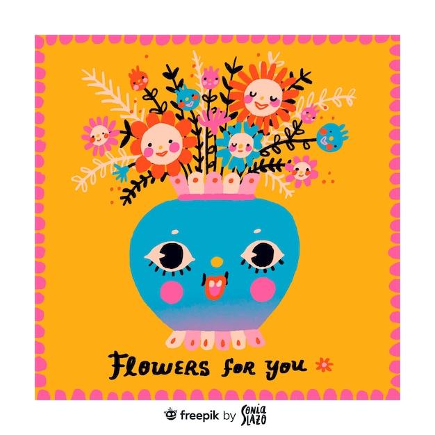 Kartkę Z życzeniami Urodzinowymi ładny Kwiat Wazon Premium Wektorów