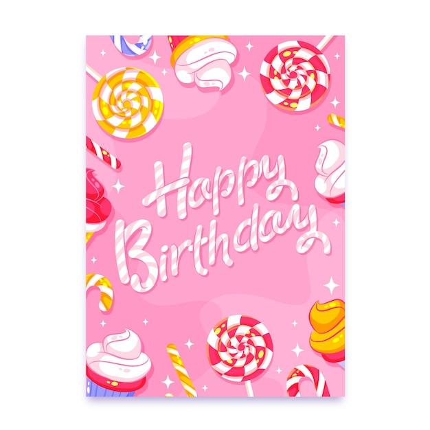 Kartkę Z życzeniami Urodzinowymi Z Napisem Darmowych Wektorów