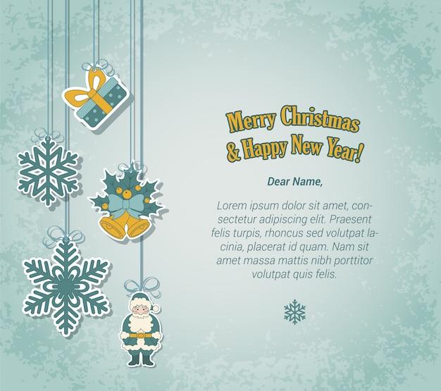 Kartkę z życzeniami wesołych świąt i nowego roku w stylu etykiety naklejki Darmowych Wektorów