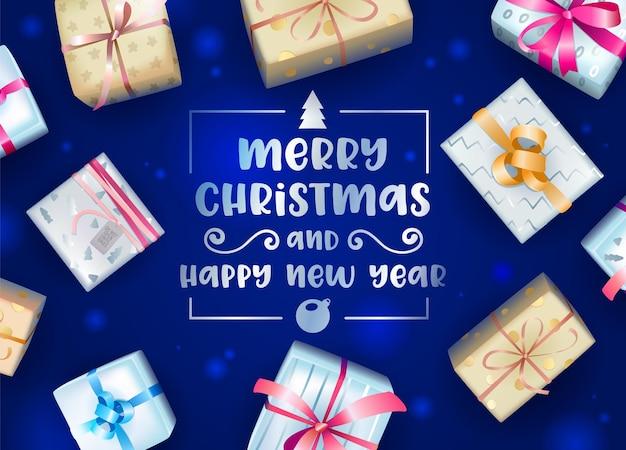 Kartkę Z życzeniami Wesołych świąt I Szczęśliwego Nowego Roku Premium Wektorów