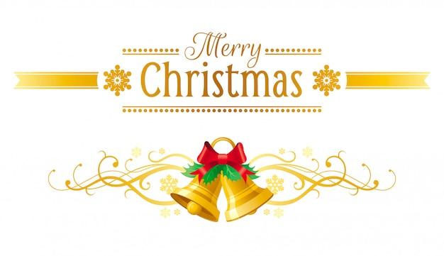 Kartkę Z życzeniami Wesołych świąt. Wakacyjny Sztandar Z Dźwięczącymi Dzwonami. Premium Wektorów