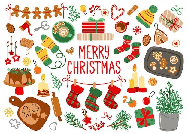 Kartkę Z życzeniami Wesołych świąt Z Elementami Dekoracyjnymi Na Boże Narodzenie Premium Wektorów
