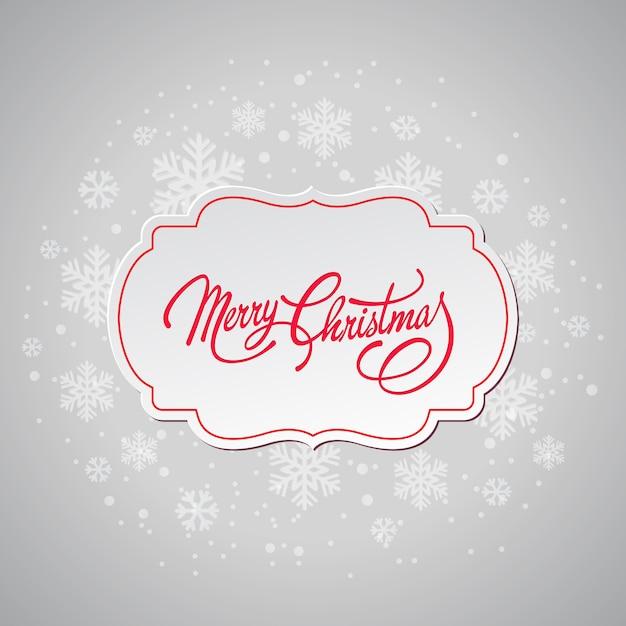 Kartkę z życzeniami wesołych świąt z płatki śniegu Premium Wektorów