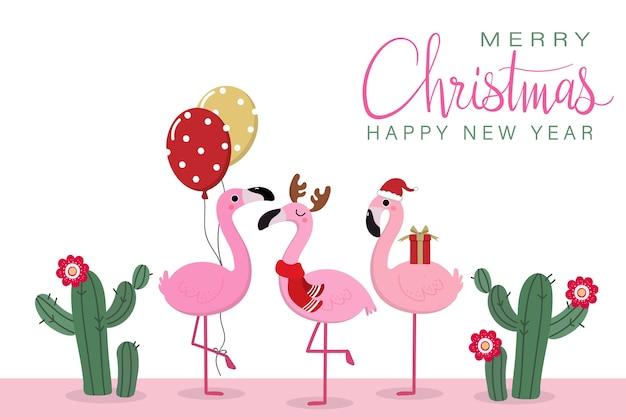 Kartkę z życzeniami wesołych świąt z słodkie flamingi Premium Wektorów