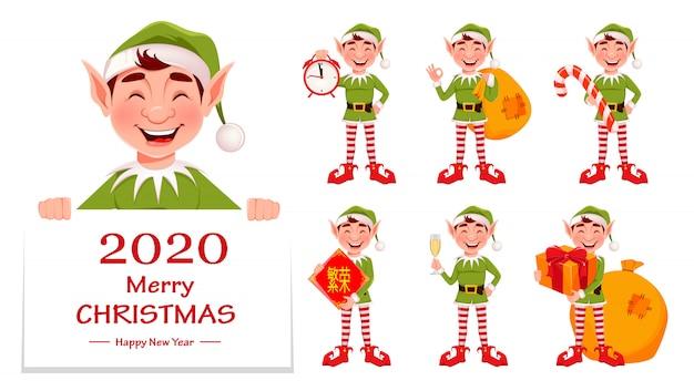 Kartkę z życzeniami wesołych świąt z zabawnym elfem Premium Wektorów