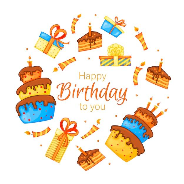 Kartkę Z życzeniami Wszystkiego Najlepszego Z Ciasta, Prezenty I świece Premium Wektorów