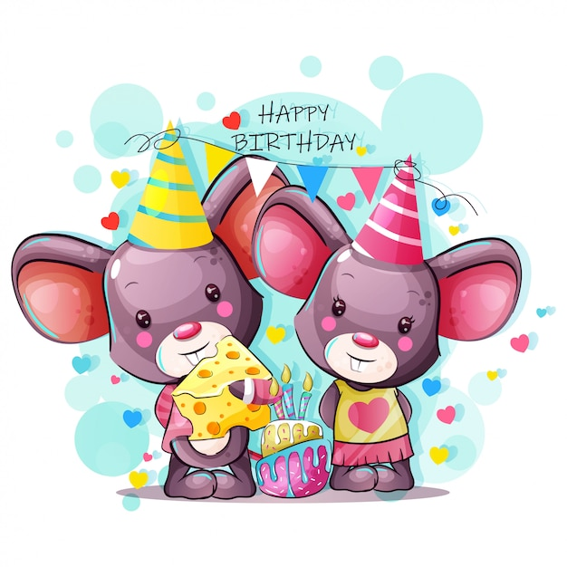 Kartkę Z życzeniami Wszystkiego Najlepszego Z Cute Baby Kreskówki Myszy Premium Wektorów