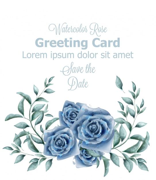 Kartkę z życzeniami z akwarela niebieskie róże Premium Wektorów
