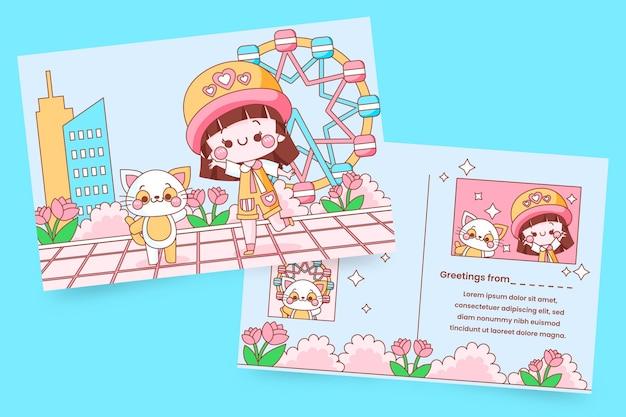 Kartkę Z życzeniami Z Dzieckiem Kawaii I Kotkiem Darmowych Wektorów