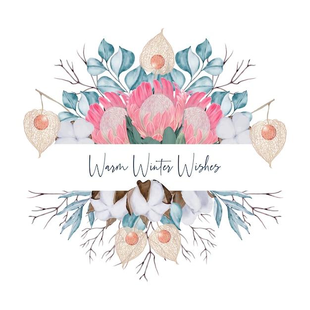 Kartkę z życzeniami z kwiatami i eukaliptusa Premium Wektorów