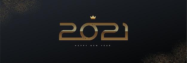 Kartkę Z życzeniami Z Logo Złotego Nowego Roku Na Czarnym Tle. Premium Wektorów