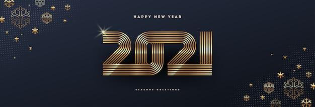 Kartkę Z życzeniami Z Logo Złoty Nowy Rok I Płatki śniegu Na Czarnym Tle. Premium Wektorów