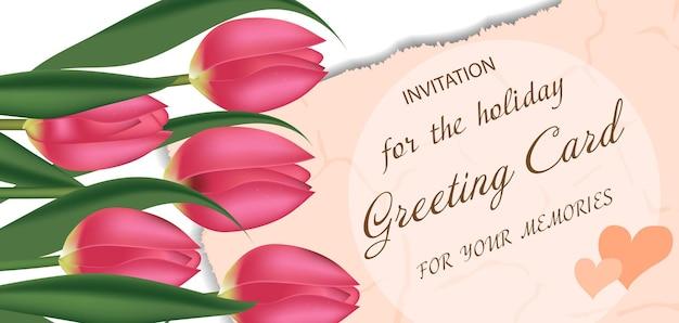 Kartkę Z życzeniami Z Różowymi Tulipanami, Z Wolnym Miejscem Na Tekst. Wiosenne Kwiaty. Tło Dzień Matki Lub Walentynki. Premium Wektorów