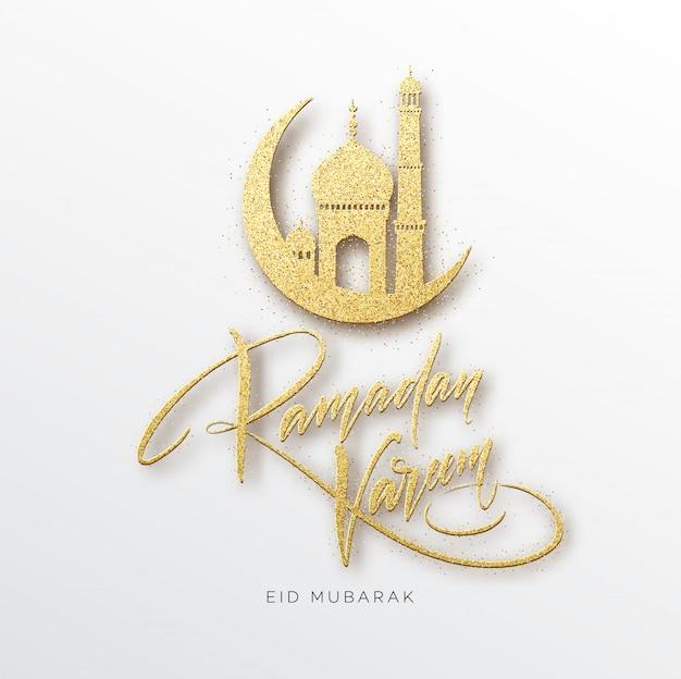 Kartkę Z życzeniami Z Tekstem Kreatywnym Ramadan Kareem Wykonanym Przez Złoty Brokat. Premium Wektorów