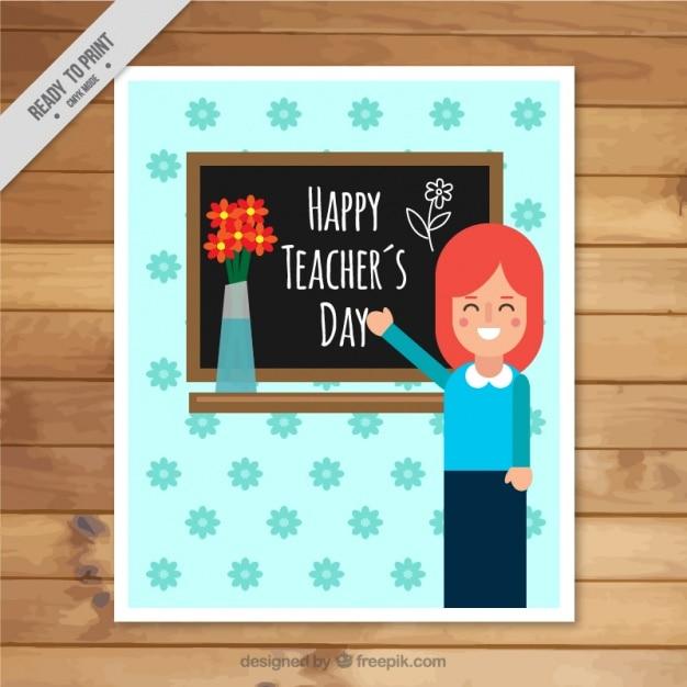 Kartkę z życzeniami z uśmiechniętego nauczyciela Darmowych Wektorów