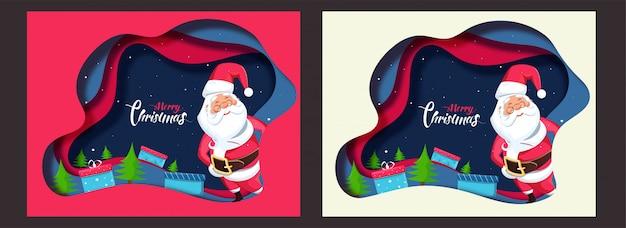 Kartkę z życzeniami z wyciętą warstwą papieru z mikołajem, pudełkami prezentowymi i drzewkiem świątecznym na uroczystość wesołych świąt w dwóch kolorach. Premium Wektorów